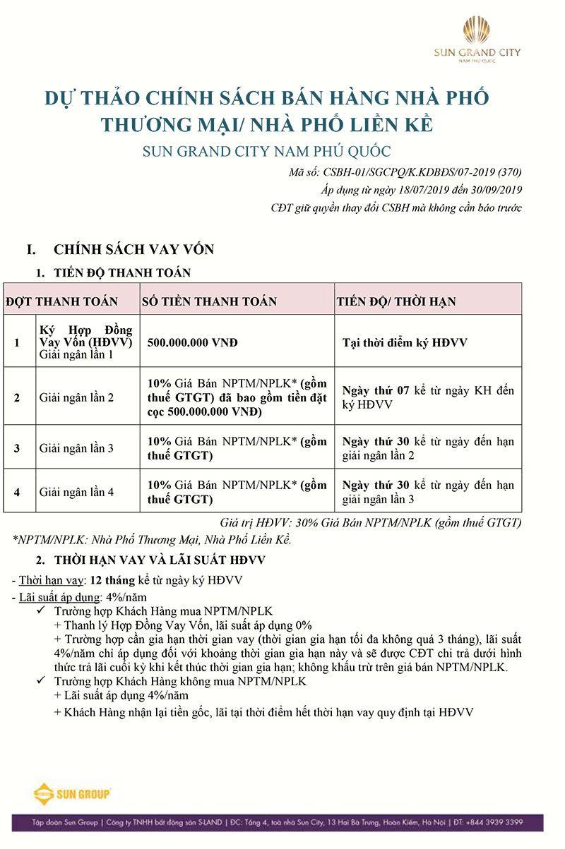 Chính sách bán hàng Sun Grand City Nam Phú Quốc