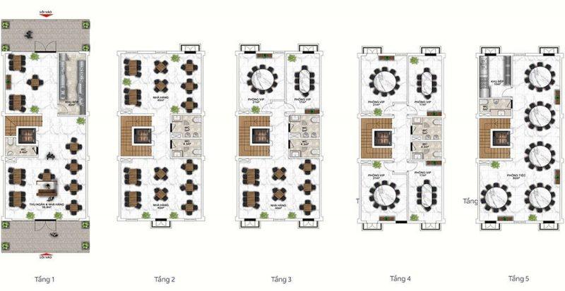 Mặt bằng mẫu thiết kế công năng gợi ý cho loại nhà hàng.