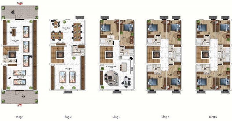 Mặt bằng mẫu thiết kế công năng gợi ý cho loại Shophouse 2 tầng kinh doanh.