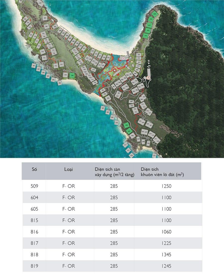 Mặt bằng các căn biệt thự đơn lập Sun Premier Village Phu Quoc Resort mẫu F-OR