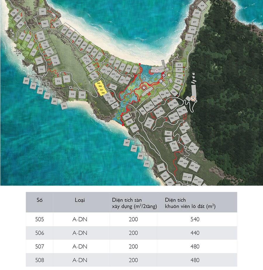 Mặt bằng các căn biệt thự song lập Sun Set Premier Village Phu Quoc Resort mẫu A-DN