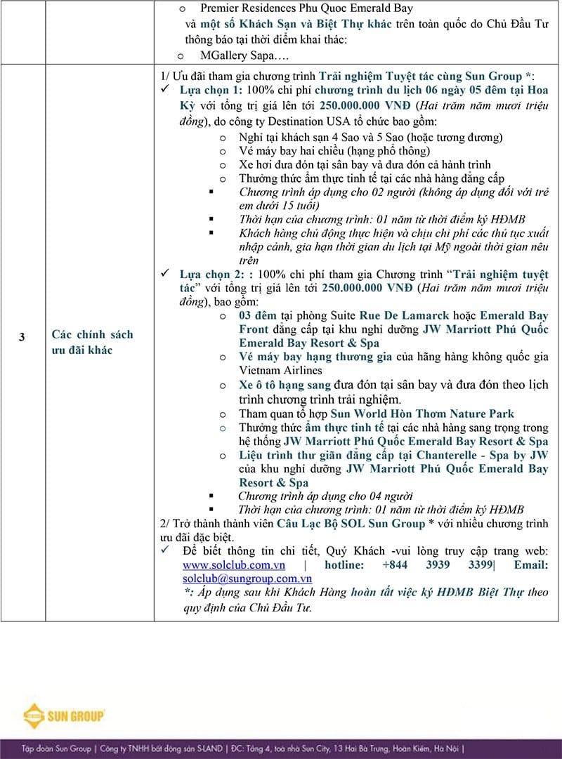 Chính sách bán hàng biệt thự nghỉ dưỡng Premier Village Phu Quoc Resort.
