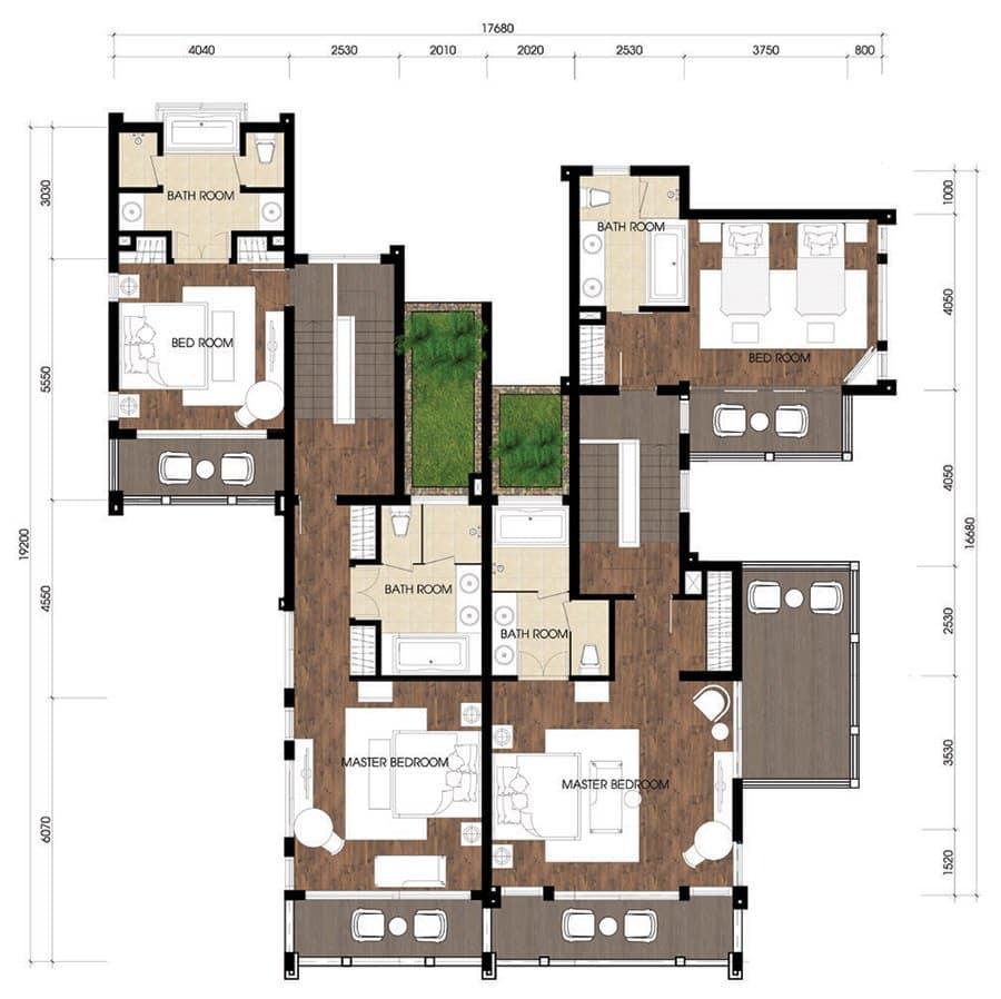 Mặt bằng tầng 2 mẫu biệt thự song lập A-UP.
