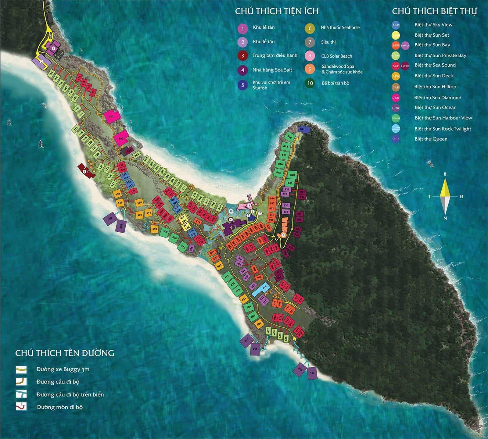 Mặt bằng toàn khu biệt thự Sun Premier Village Phu Quoc Resort.
