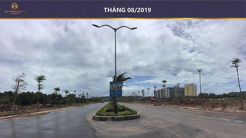 Tiến độ xây dựng dự án Sun Grand City New An Thới vào tháng 8/2019.