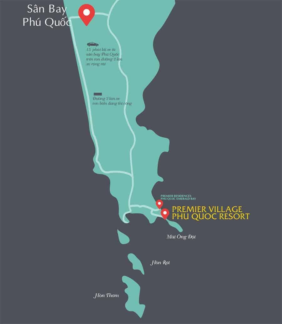 Vị trí dự án biệt thự Premier Village Phu Quoc Resort tại Mũi Ông Đội của SunGroup.