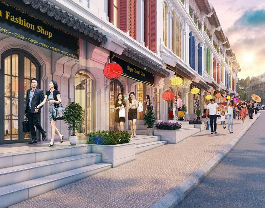 Các căn Shophouse mặt tiền được những thương thiệu nổi tiếng chọn để kinh doanh.