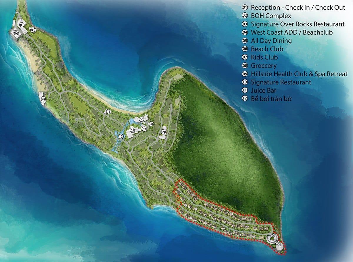 Mặt bằng tổng thể biệt thự đẳng cấp bậc nhất Phú Quốc, Sun Premier Village The Eden Bay.