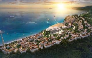 Tổng thể dự án shophouse Sun Premier Village Primavera mang đậm phong cách Địa Trung Hải bên bờ biển.