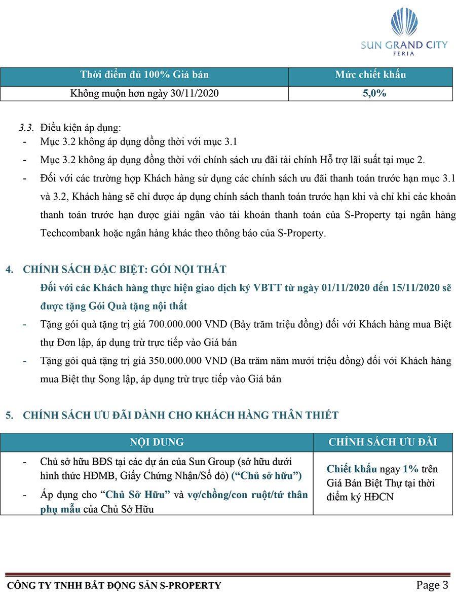 Chính sách bán hàng biệt thự Sun Grand City Feria Hạ Long - Trang 3.