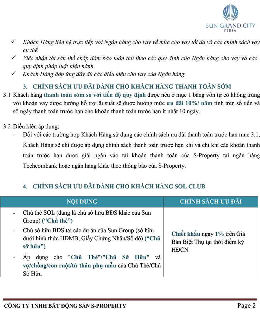 Chính Sách Bán Hàng Biệt Thự Feria – Áp Dụng Cho Khách Hàng Vay, Nhận Hỗ Trợ Lãi Suất - Trang 2.