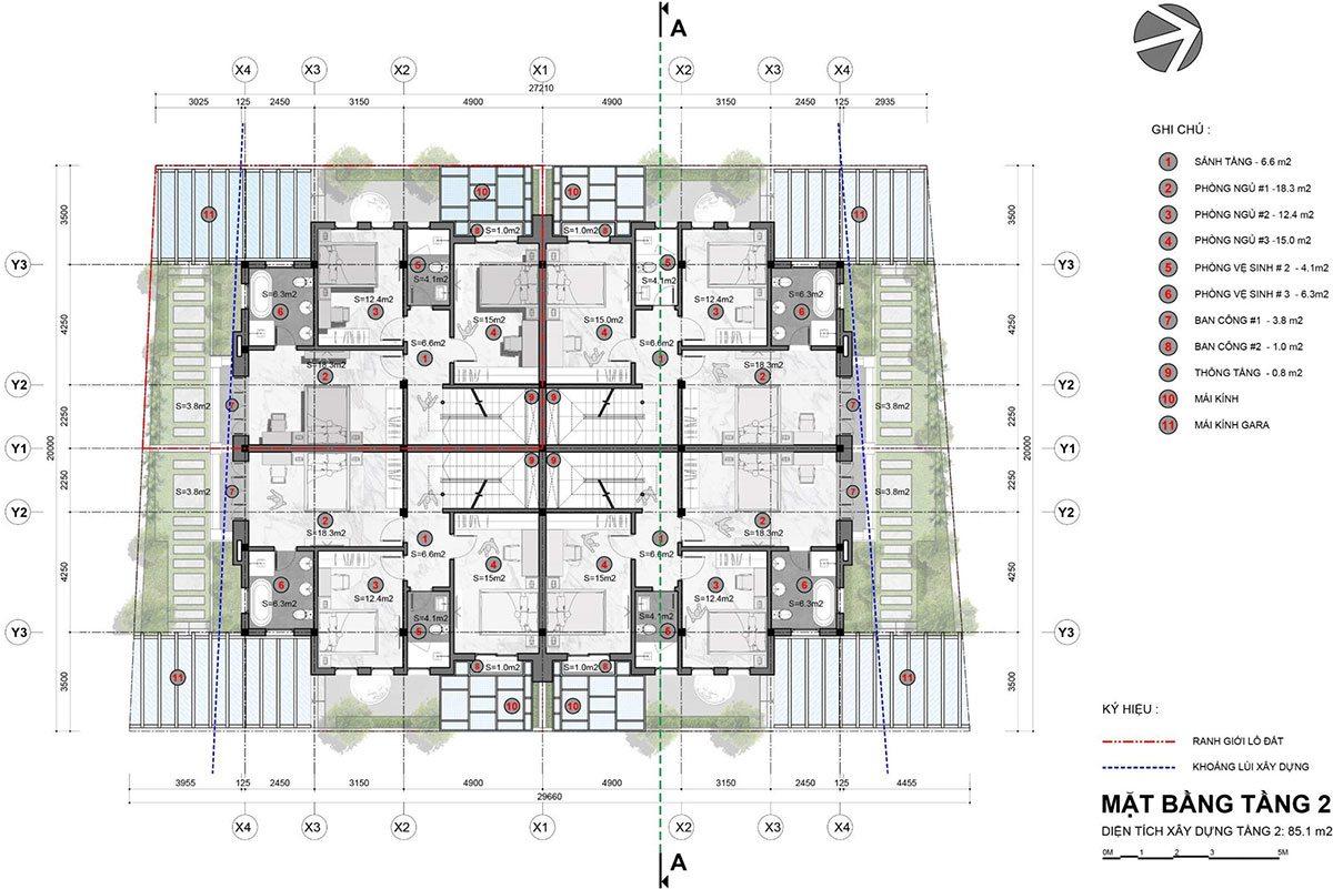 Mặt bằng tầng mẫu biệt thự tứ lập - Tầng 2.