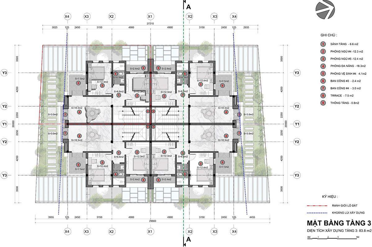 Mặt bằng tầng mẫu biệt thự tứ lập - Tầng 3.