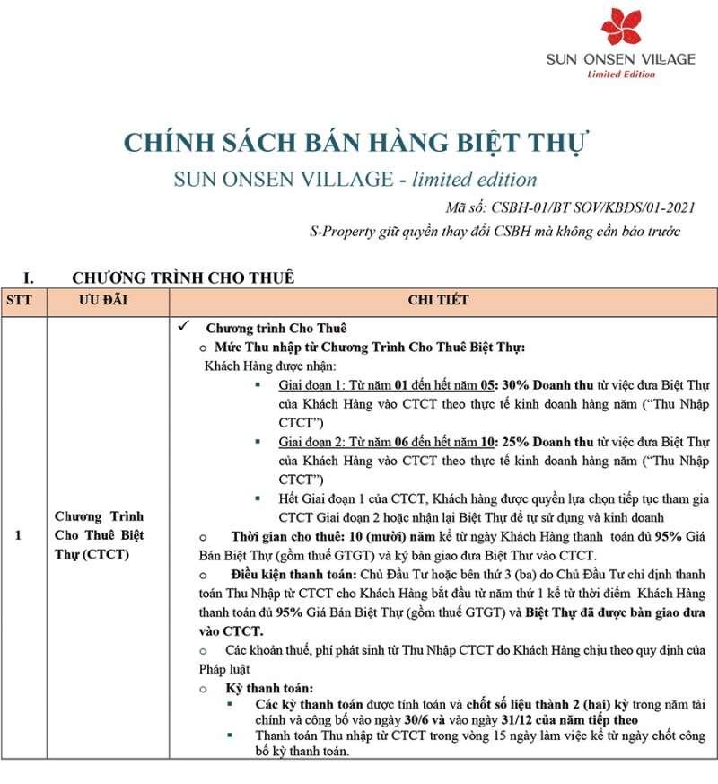 Chính sách bán hàng biệt thự Sun Onsen Village Limited Edition tháng 01/2021.