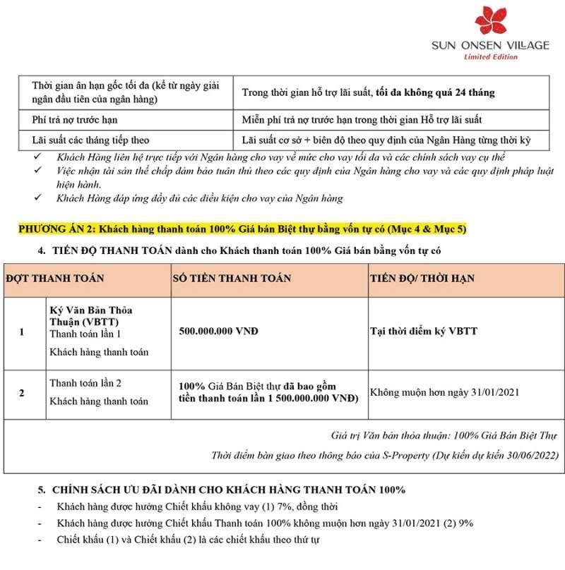 Chính sách bán hàng biệt thự Sun Onsen Village Limited Edition tháng 01/2021 - Trang 4.