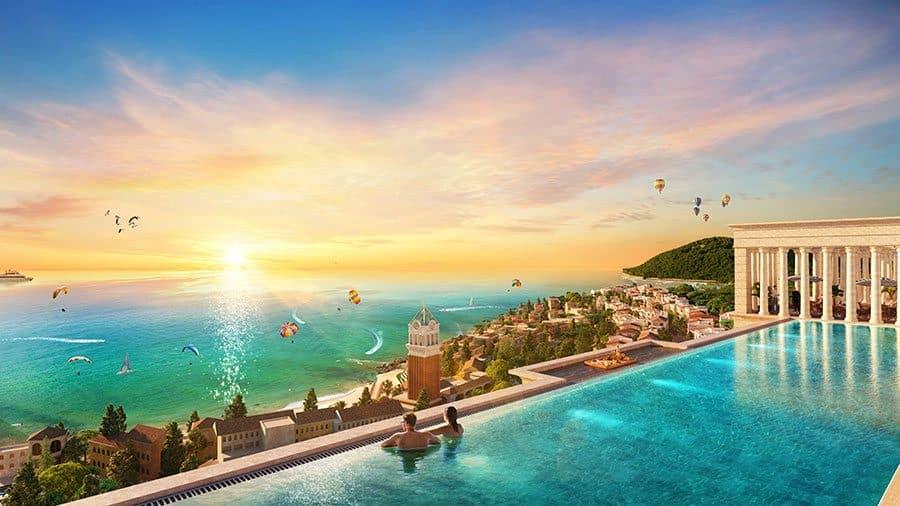 Hồ bơi tràn bờ nằm trên tầng thượng khu căn hộ ngắm toàn cảnh khu đô thị Sun Premier Village Primavera.
