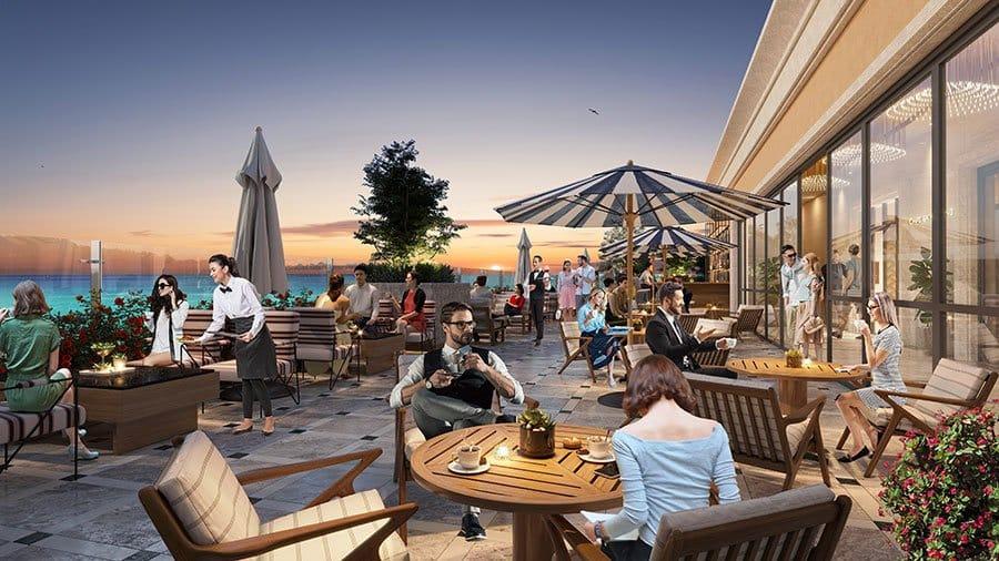 Khu vực nhà hàng ven biển đáp ứng nhu cầu ăn uống cho cư dân và khách du lịch đến đây.