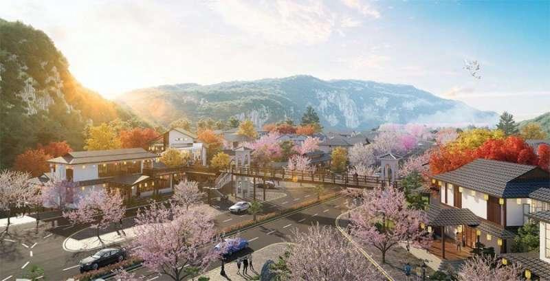 Khung cảnh bên trong khu biệt thự mang đậm phong cách Nhật Bản.