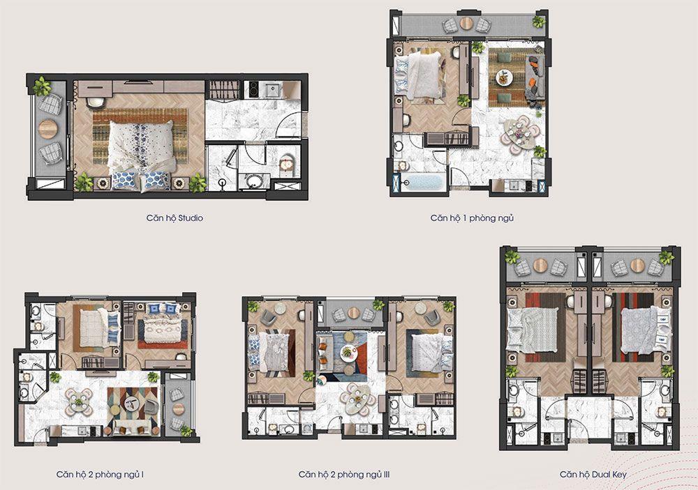Mặt bằng các loại diện tích căn hộ tầng 12A tòa tháp H3 và H4 của Hillside.
