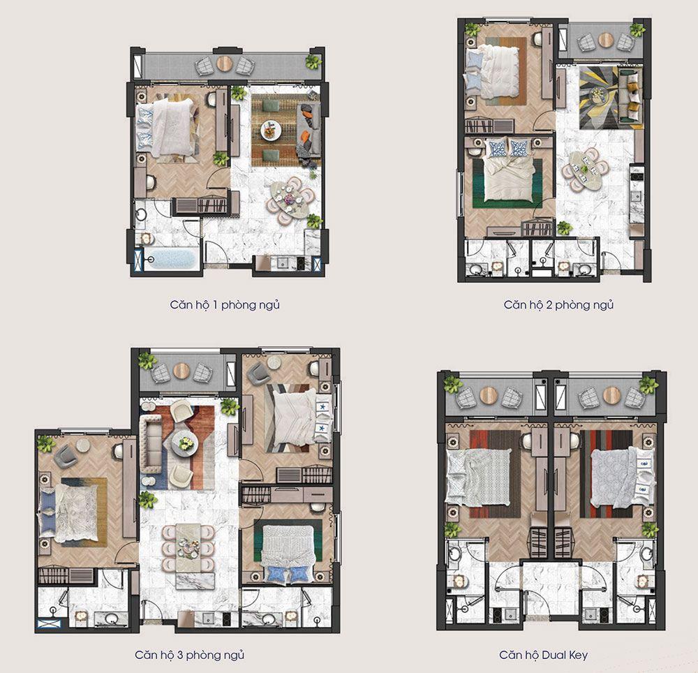 Mặt bằng các loại diện tích căn hộ tầng 14 tòa tháp H3 và H4 của Hillside.