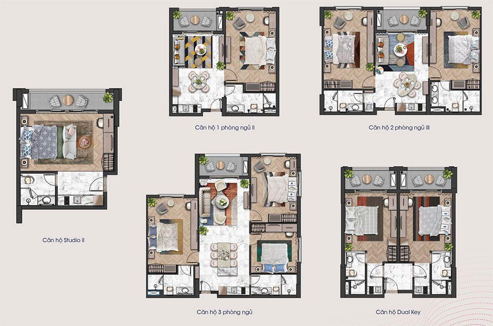 Mặt bằng các loại diện tích căn hộ tầng 16 và tầng 17 tòa tháp H3 và H4 của Hillside.