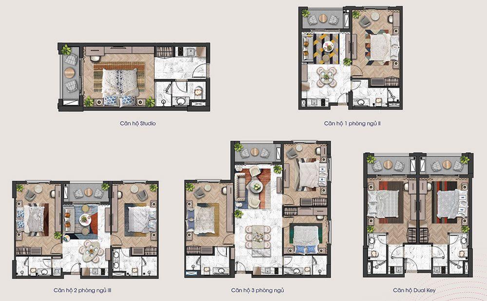 Mặt bằng các loại diện tích căn hộ tầng 15tòa tháp H3 và H4 của Hillside.