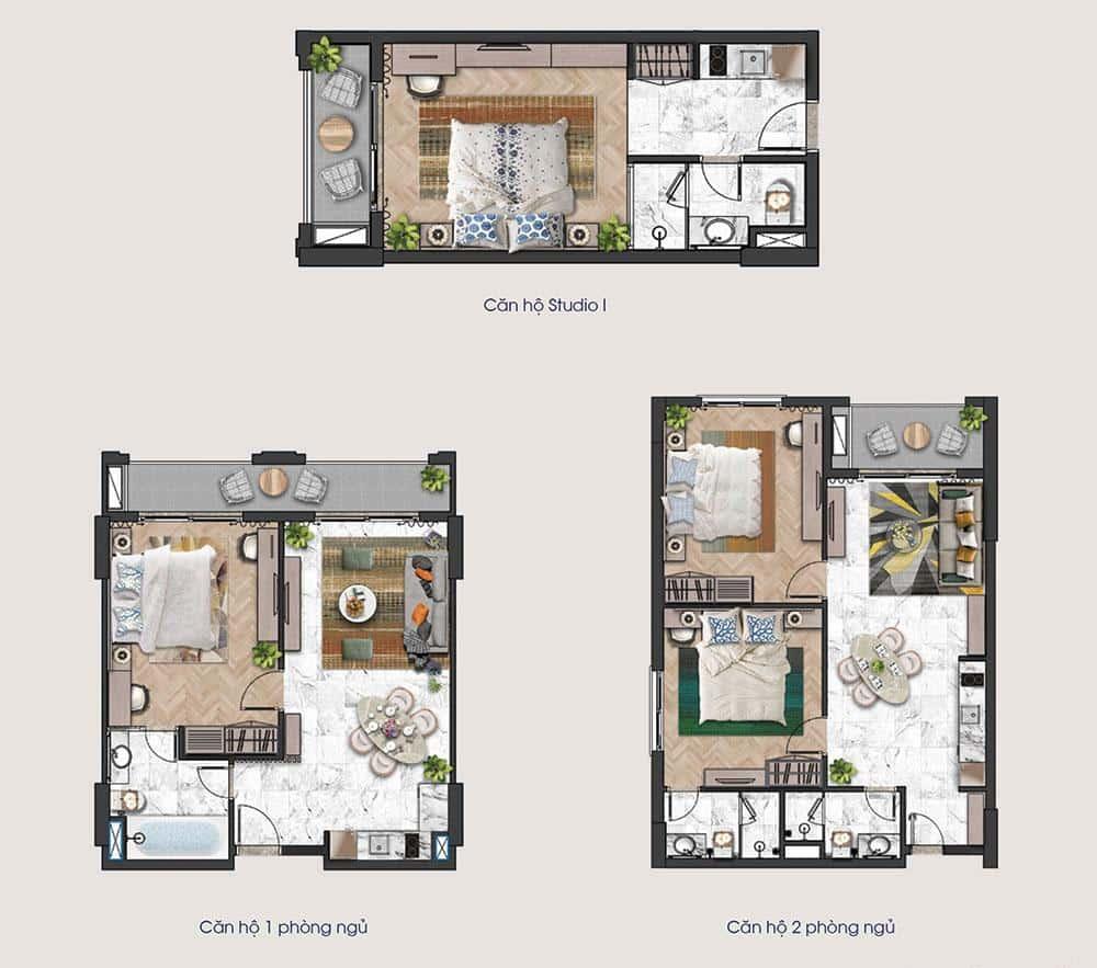 Mặt bằng các loại diện tích căn hộ của tầng 3 tòa tháp H3 và H4 dự án Sun Grand City Hillside.