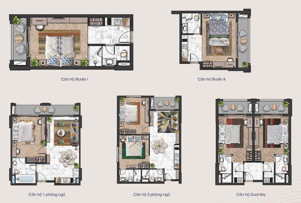 Mặt bằng các loại diện tích căn hộ của tầng 5 tòa tháp H3 và H4.
