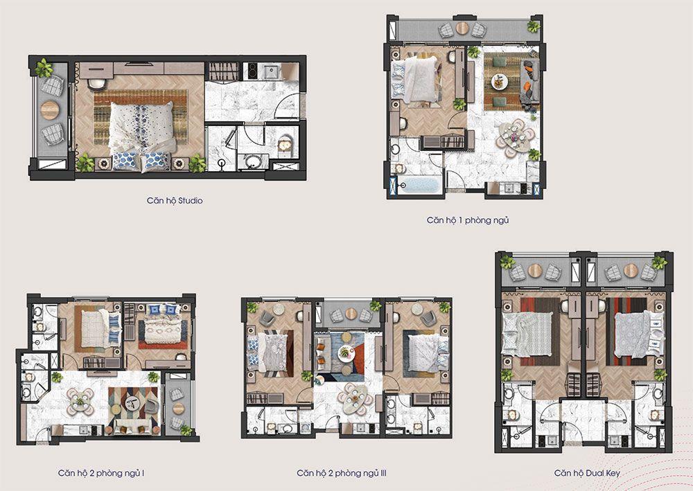 Mặt bằng các loại diện tích căn hộ từ tầng 6 đến tầng 12 tòa tháp H3 và H4 của Hillside.