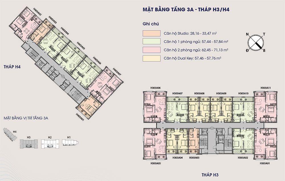 Mặt bằng điển hình tầng 4 tòa tháp H3 và H4.