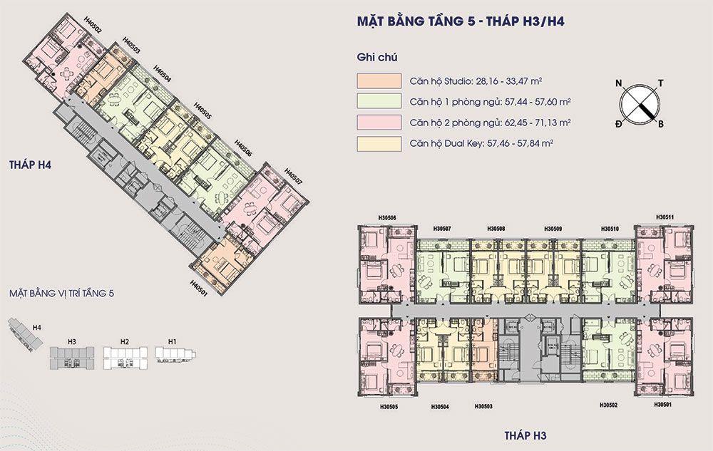 Mặt bằng điển hình tầng 5 tòa tháp H3 và H4.