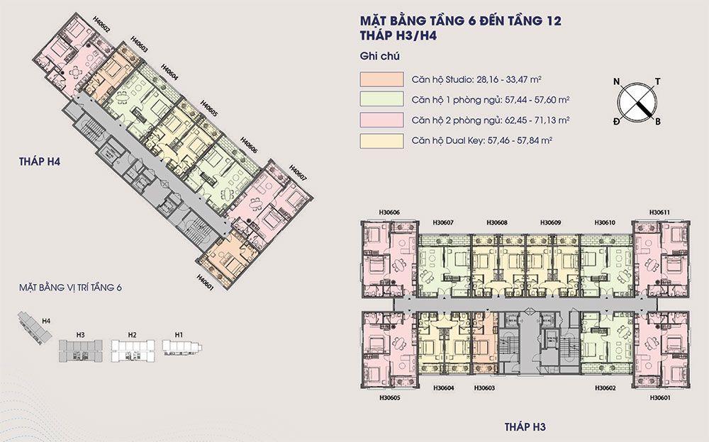 Mặt bằng điển hình từ tầng 6 đến tầng 12 tòa tháp H3 và H4 của Hillside.