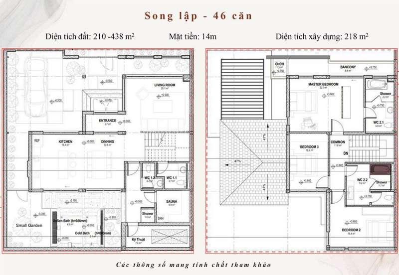 Mặt bằng tầng biệt thự song lập Onsen Village Quảng Hành.