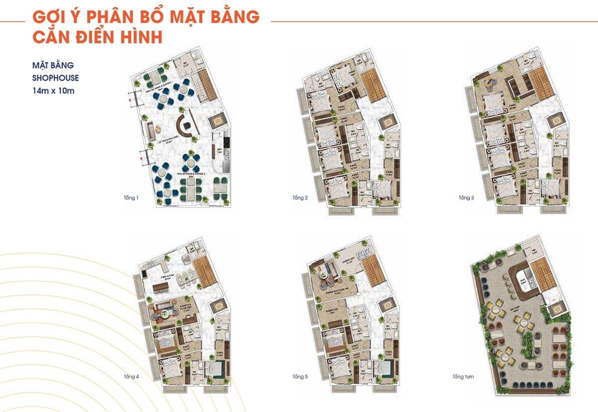 Mặt bằng thiết kế các căn shophouse với diện tích 14mx10m.