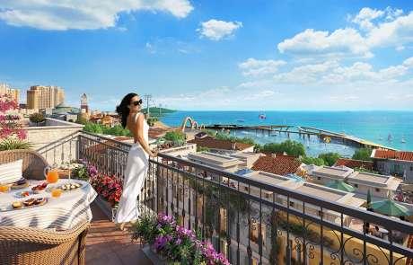 Thiết kế kiến trúc Taormina các căn Shophouse The Center thị trấn Địa Trung Hải.