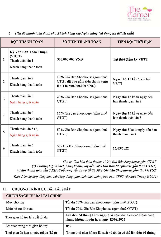 Tiến độ thanh toán và chính sách bán hàng tháng 05/2021 - Trang 2.
