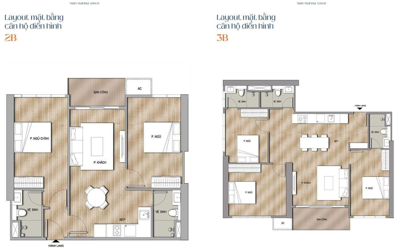 Mặt bằng thiết kế căn hộ 2 phòng ngủ + 3 phòng ngủ.