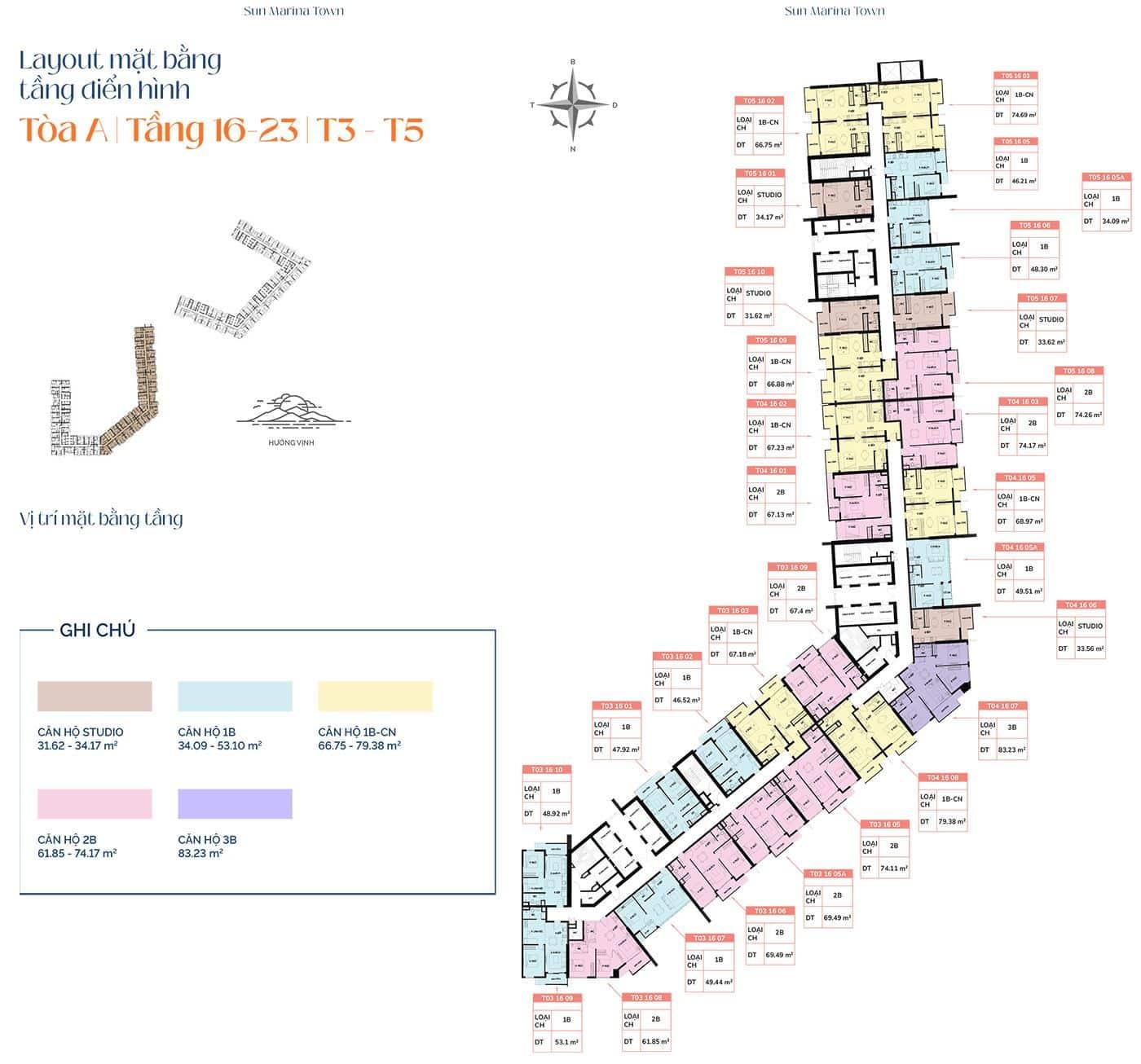 Mặt bằng tầng điển hình tòa A, từ tầng 16 đến tầng 23, T3 và T5.