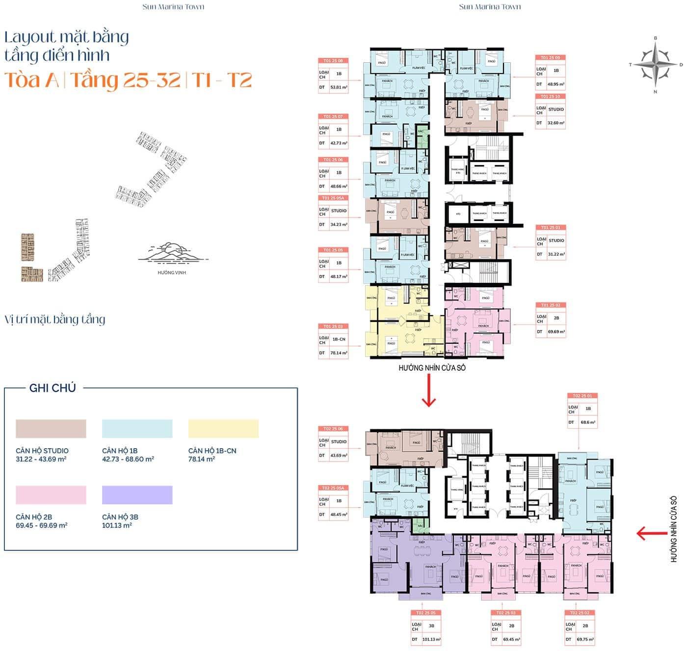 Mặt bằng tầng điển hình tòa A, từ tầng 25 đến tầng 32, T1 và T2.