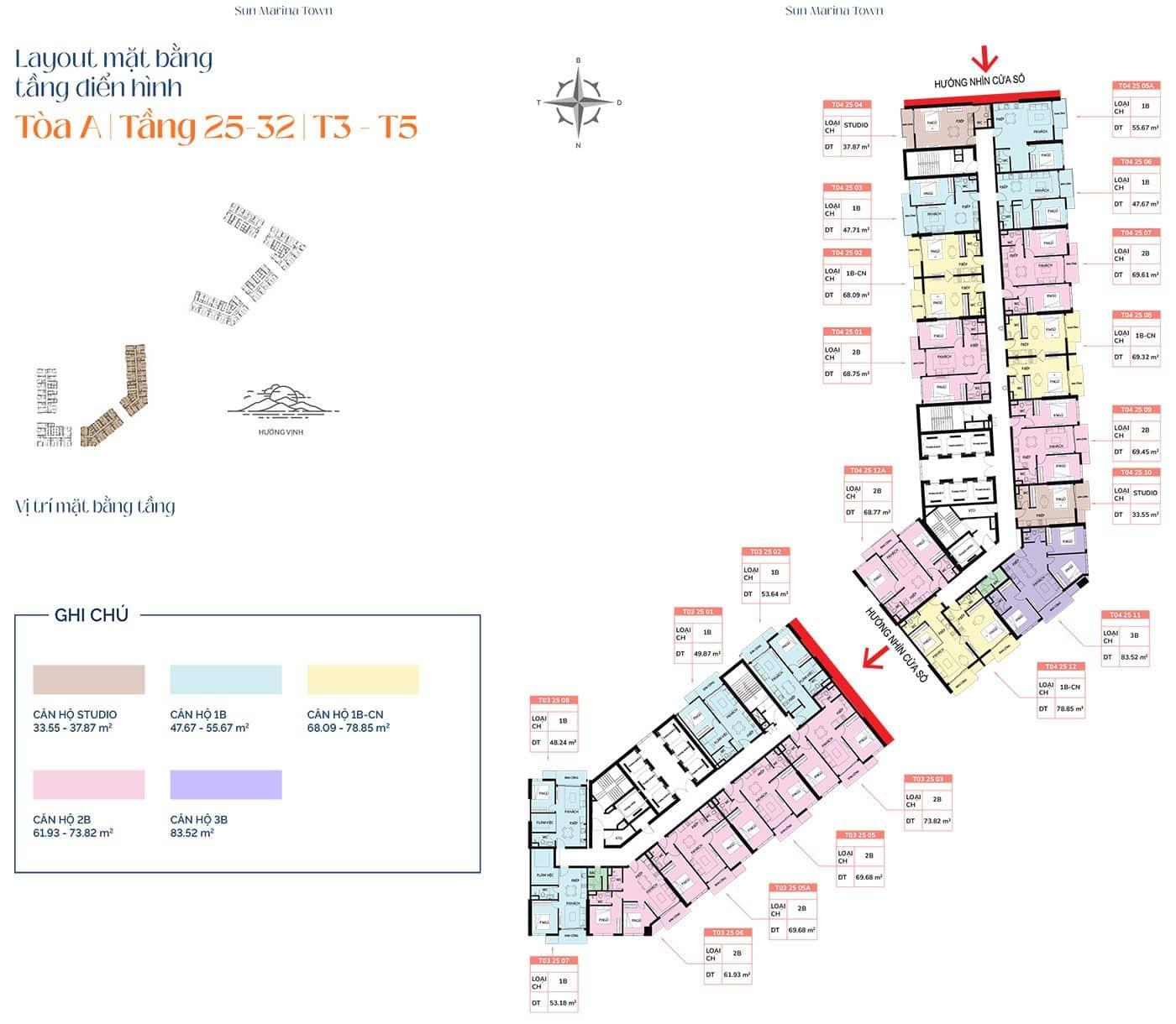 Mặt bằng tầng điển hình tòa A, từ tầng 25 đến tầng 32, T3 và T5.