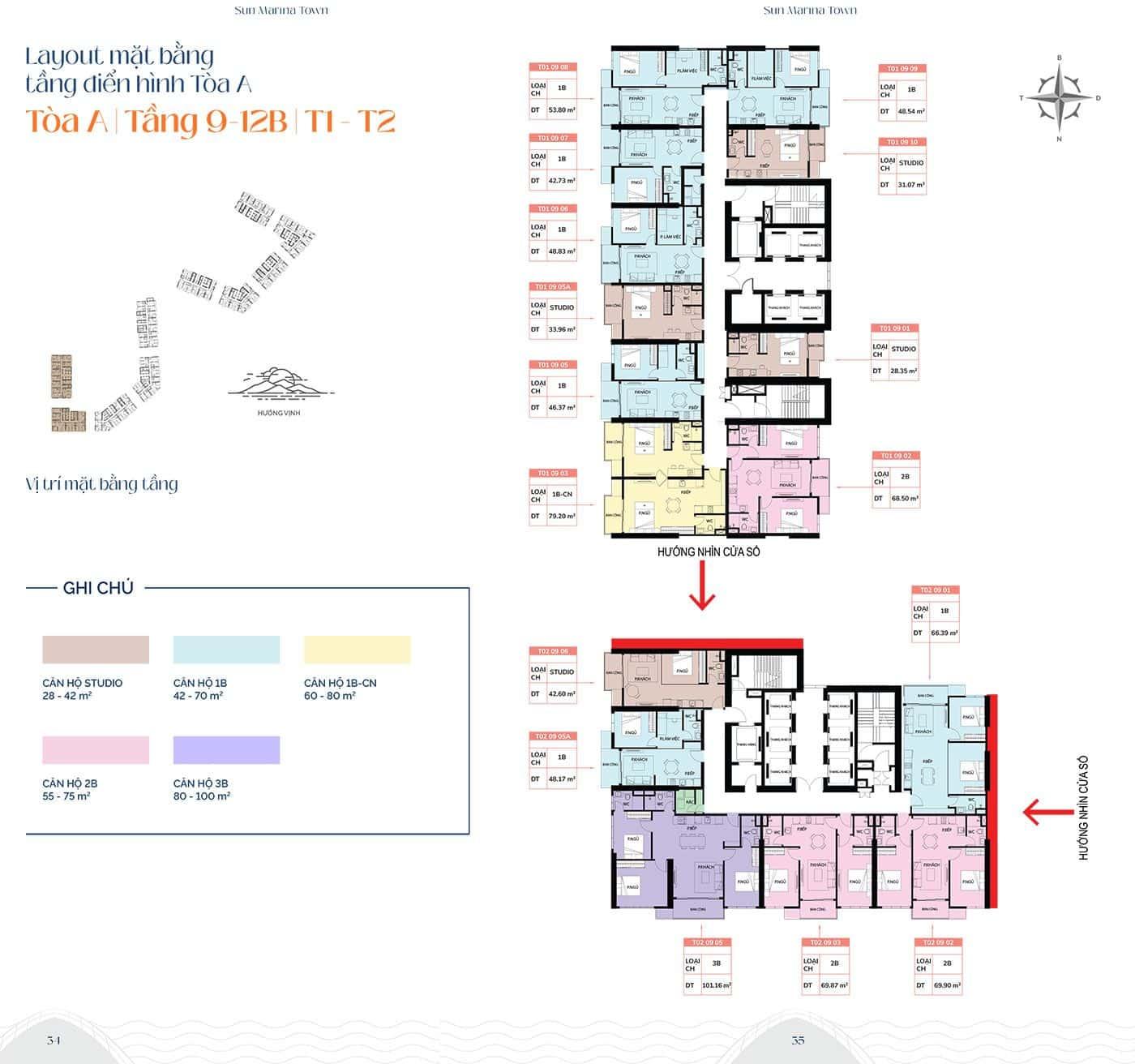 Mặt bằng tầng điển hình tòa A, từ tầng 9 đến tầng 12B, T1 và T2.