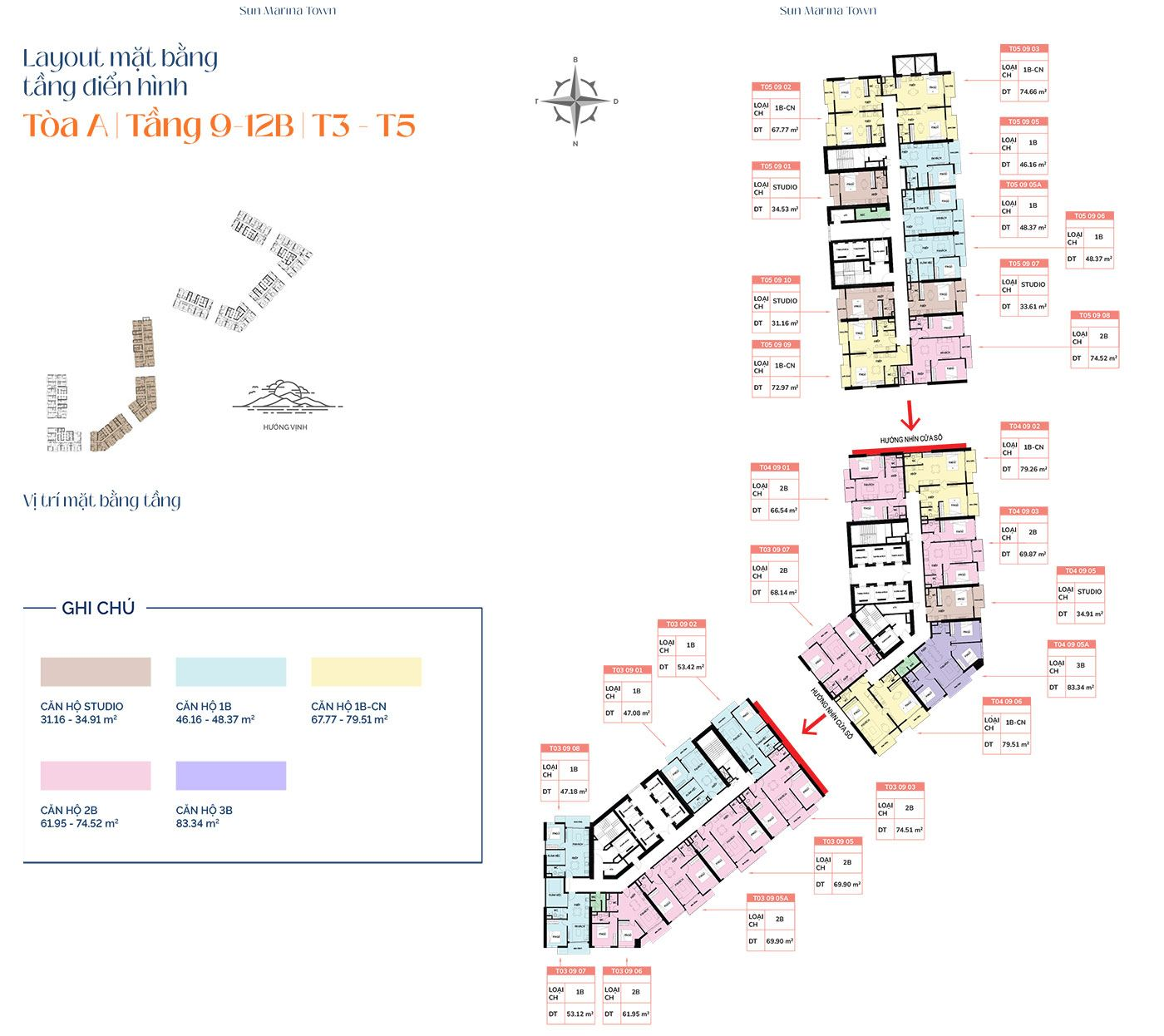 Mặt bằng tầng điển hình tòa A, từ tầng 9 đến tầng 12B, T3 và T5.