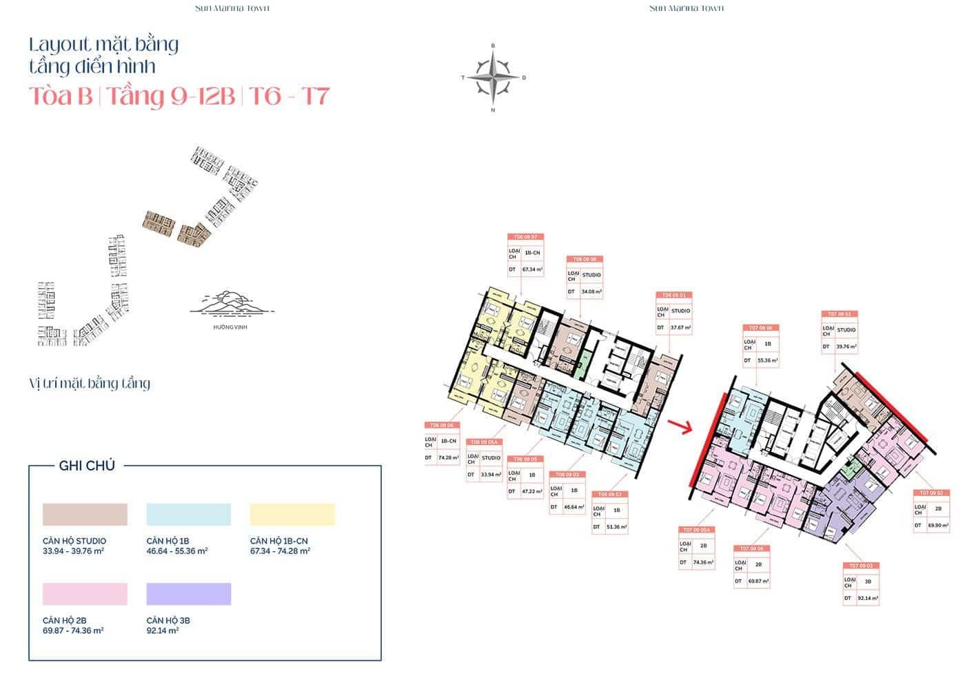 Mặt bằng tầng điển hình tòa B, từ tầng 9 đến tầng 12B, T6 và T7.