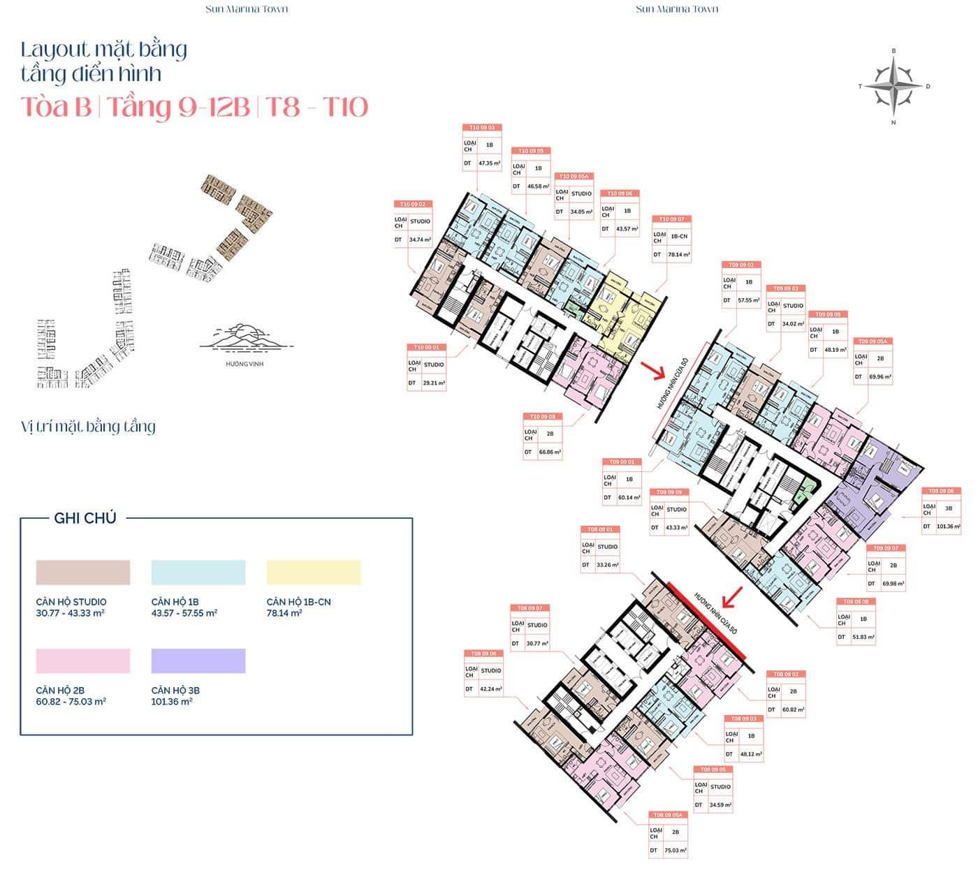 Mặt bằng tầng điển hình tòa B, từ tầng 9 đến tầng 12B, T8 và T10.
